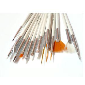 Nail Art Zestaw 15 pedzelkow do żelu, akrylu i zdobień