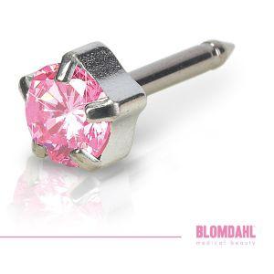 BLOMDAHL Srebrny Tytan Medyczny - Tiffany Light Rose 5 mm