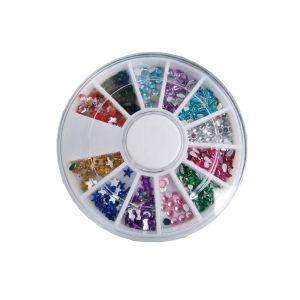 Zestaw kolorowych cyrkonii i kryształków do zdobienia paznokci mix