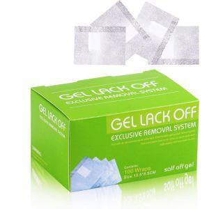 Folia z wacikiem do usuwania lakieru hybrydowego Gel Lack Off 100 szt.