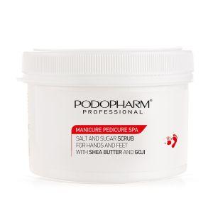 PodoPharm Peeling solno-cukrowy do dłoni i stóp z masłem Shea i goji 600 g