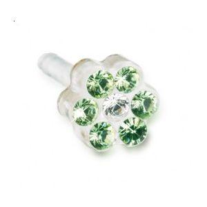Blomdahl - Dla dzieci tylko to co najlepsze Plastik Medyczny - 0% Niklu DAISY 5mm Peridot/ Crystal