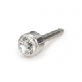 Kolczyk do przekłuwania uszu srebrny tytan medyczny bezel 4mm crystal 1szt Blomdahl kolczyki