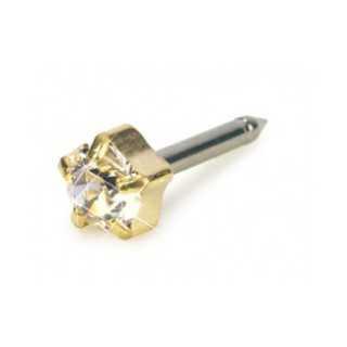 Kolczyk do przekłuwania uszu tiffany 5 mm crystal złoty tytan medyczny 1 szt Blomdahl kolczyki