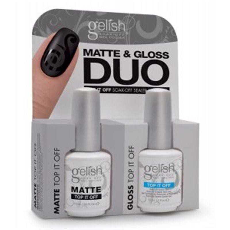 Zestaw GELISH Hand&Nail Harmony Matte&Gloss Duo 2x15ml - Matte Top It Off + Top It Off