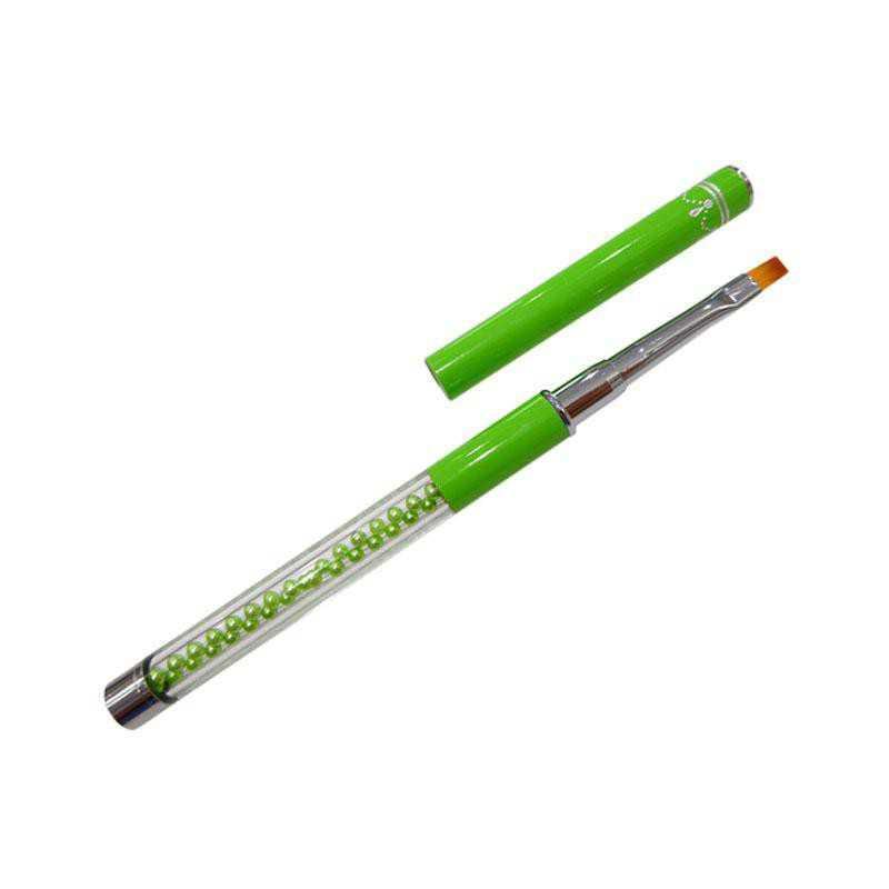 Pędzelek do żelu rozmiar 4 z perełkami - zielony