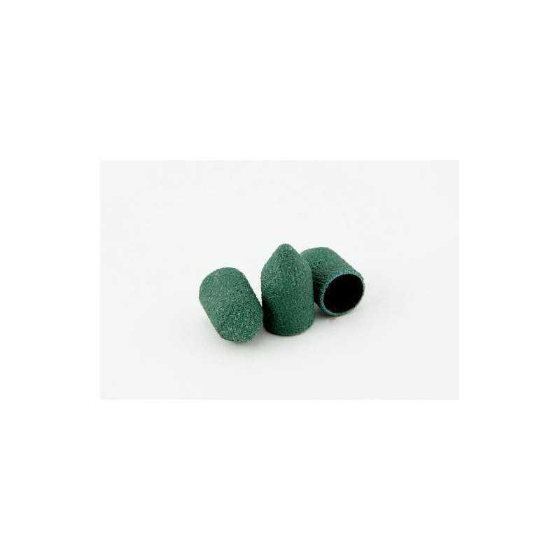 Kapturki ścierne cyrkonowe stożkowe zielone do pedicure - 7mm 150gr 10szt