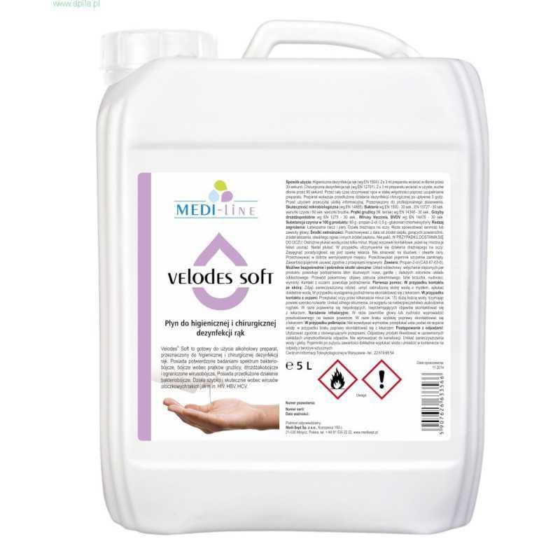 Medi-Line VELODES SOFT Płyn alkoholowy do dezynfekcji rąk 5 L