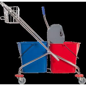 Wózek dwuwiaderkowy z prasą i metalowym koszykiem poj. 2x25