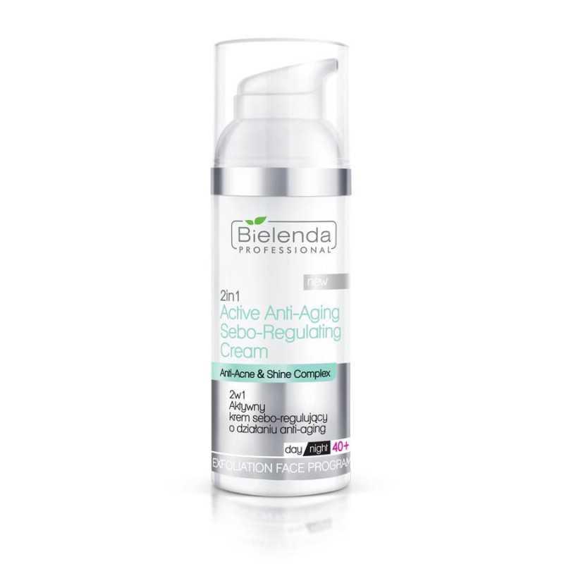 BIELENDA Krem 2w1 aktywny sebo-regulujący o działaniu anti-aging 50 ml