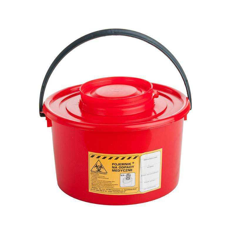 Pojemnik wiaderko na odpady medyczne 3,5 L czerwony