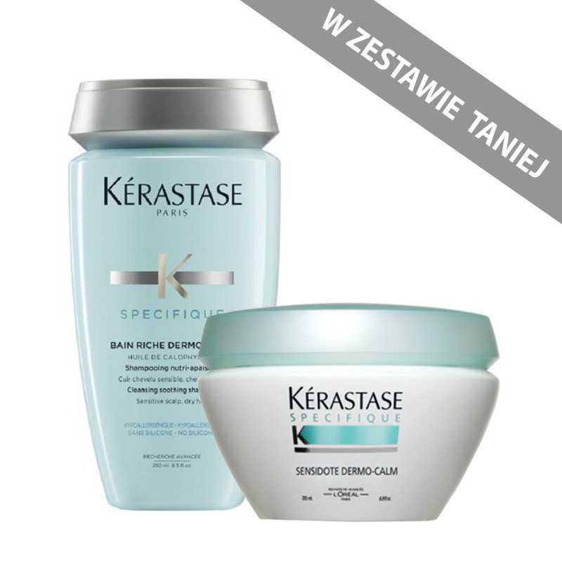 Zestaw kojąco-nawilżający dla wrażliwej skóry głowy Kerastase Dermo Calm: kąpiel 250ml + maska 200ml