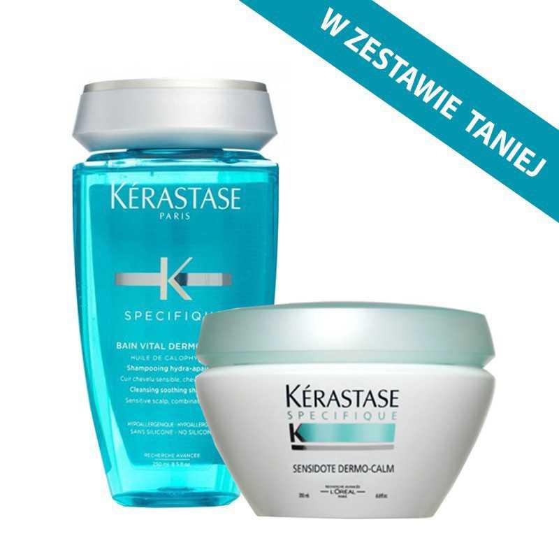 Zestaw kojący dla wrażliwej skóry głowy Kerastase Vital Dermo Calm: kąpiel 250ml + maska 200ml