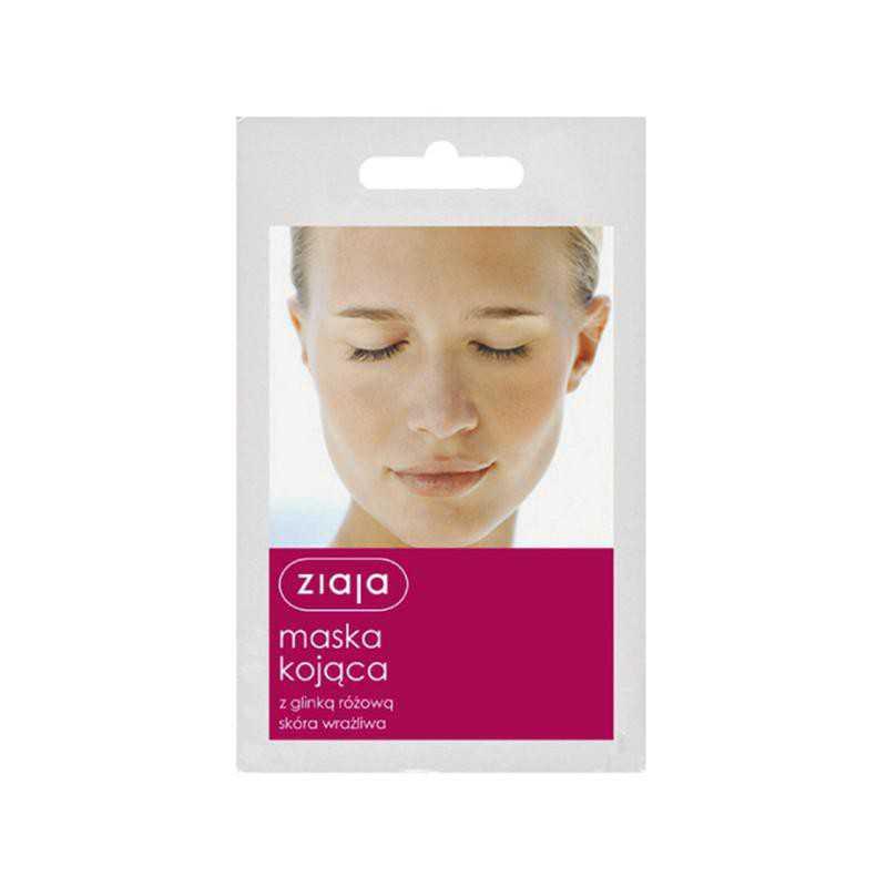 Maska do twarzy z glinką różową skóra wrażliwa 7ml Ziaja