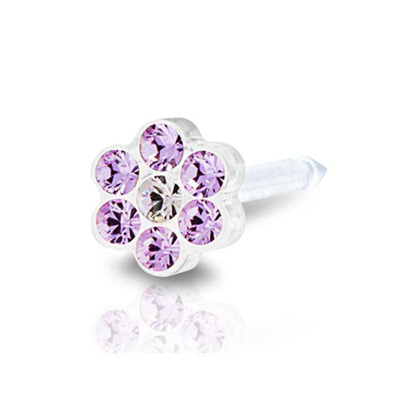 Kolczyk do przekłuwania ucha plastik medyczny daisy violet/crystal 5mm kwiatek fioletowy Blomdahl Kolczyki