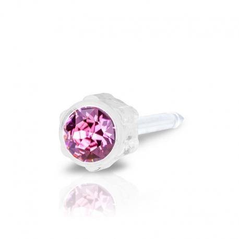 Kolczyk do przekłuwania ucha plastik medyczny daisy rose 4mm różowy Blomdahl kolczyki