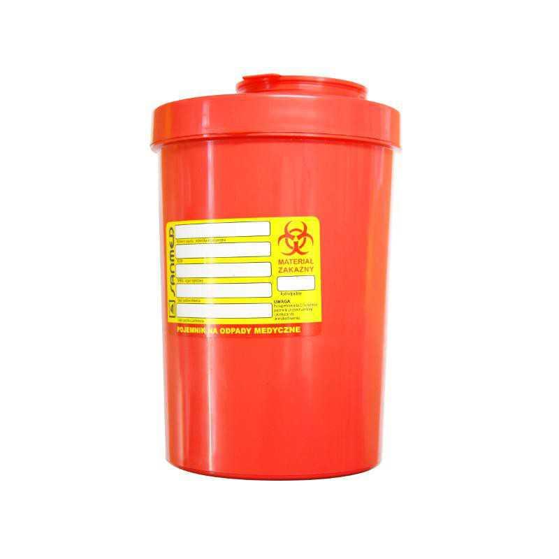Pojemnik wiaderko na odpady medyczne 1,5L czerwony