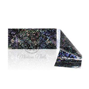 Folia transferowa nr 45 koronka czarna holo 120x4 cm Modena Nails