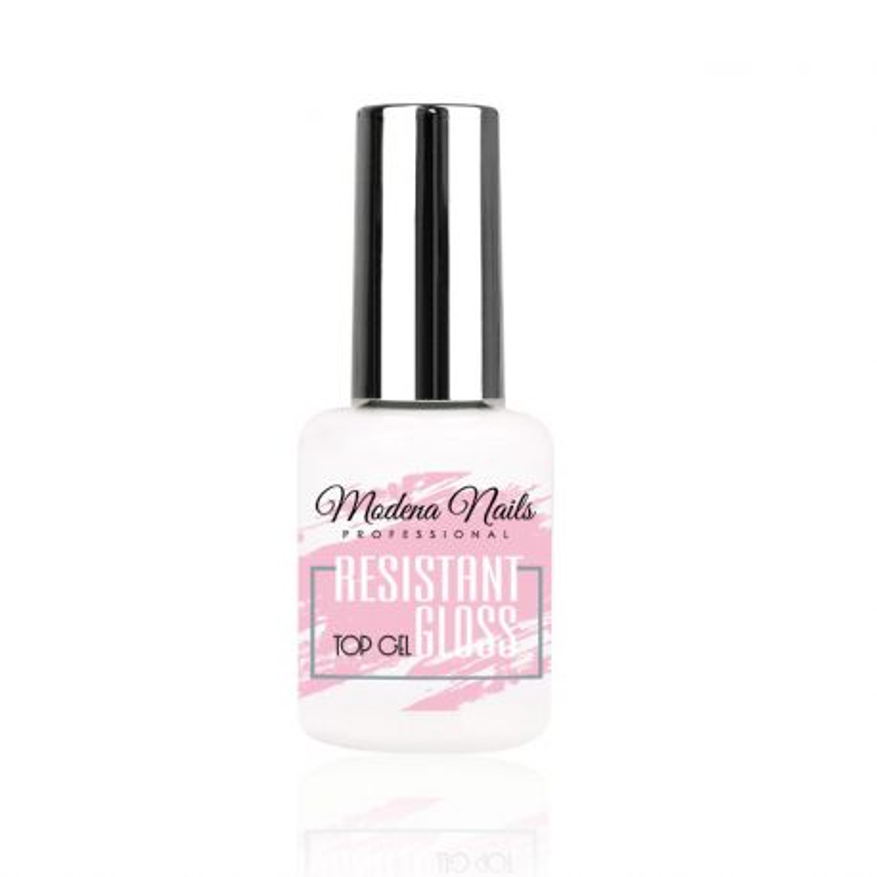 Top do lakieru hybrydowego 15ml efekt mokrego paznokcia Modena Nails Resistant Gloss