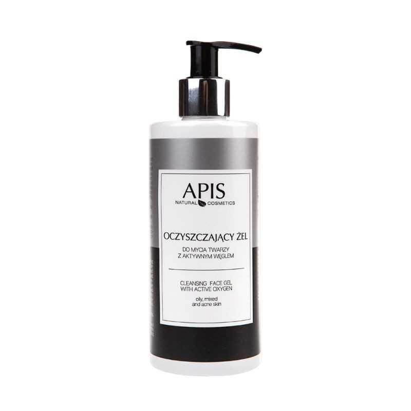 Żel do mycia twarzy oczyszczający z aktywnym węglem i srebrem 300ml Apis Professional
