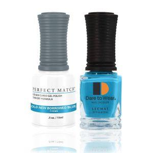 Zestaw lakier hybrydowy i klasyczny Old, New, Borrowed, Blue Perfect Match 2x15ml