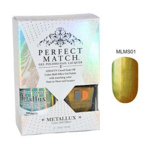 Zestaw Perfect Match Infinity MLMS01 lakier hybrydowy z efektem Meallux + lakier z efektem syrenki 2x15ml