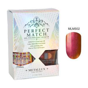 Zestaw Perfect Match Eternal MLMS02 lakier hybrydowy z efektem Meallux + lakier z efektem syrenki 2x15ml