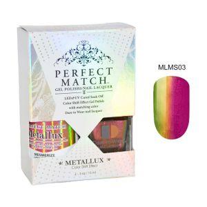 Zestaw Perfect Match Mesmerize MLMS03 lakier hybrydowy z efektem Meallux + lakier z efektem syrenki 2x15ml