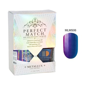 Zestaw Perfect Match Mystique MLMS06 lakier hybrydowy z efektem Meallux + lakier z efektem syrenki 2x15ml