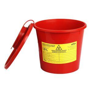 Pojemnik wiaderko na odpady medyczne 1 L czerwony