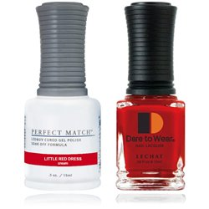 Zestaw lakier hybdrydowy i klasyczny PMS263 Little Red Dress Perfct Match