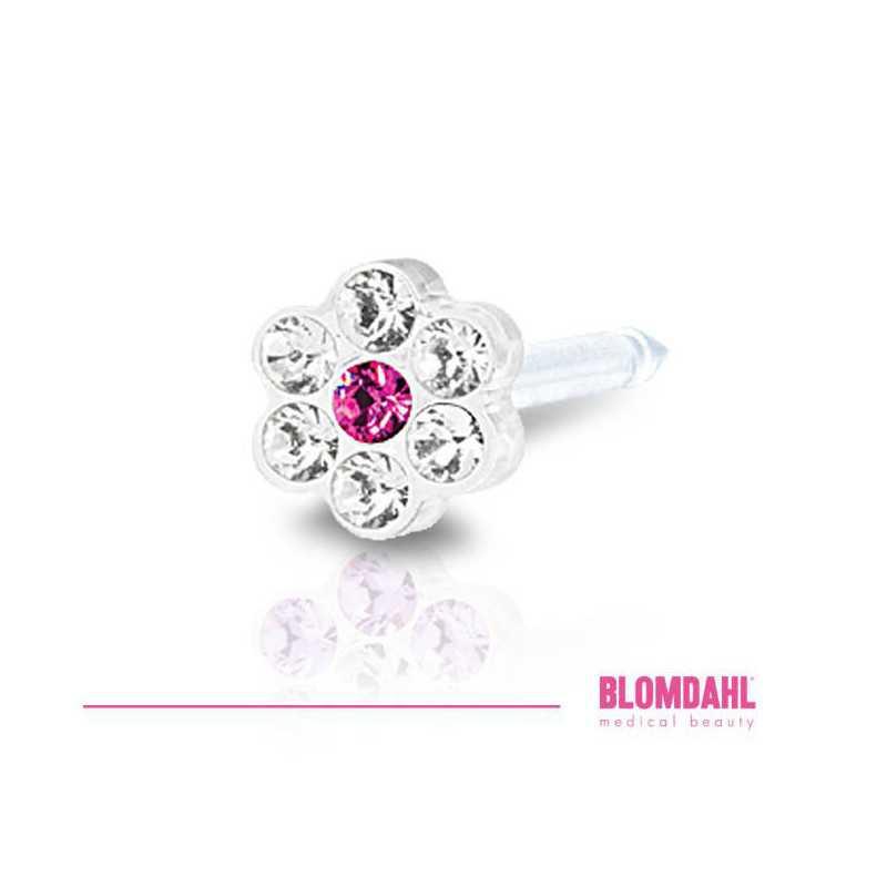 Kolczyk do przekłuwania uszu DAISY 5mm Crystal/Rose 1szt Blomdahl kolczyki